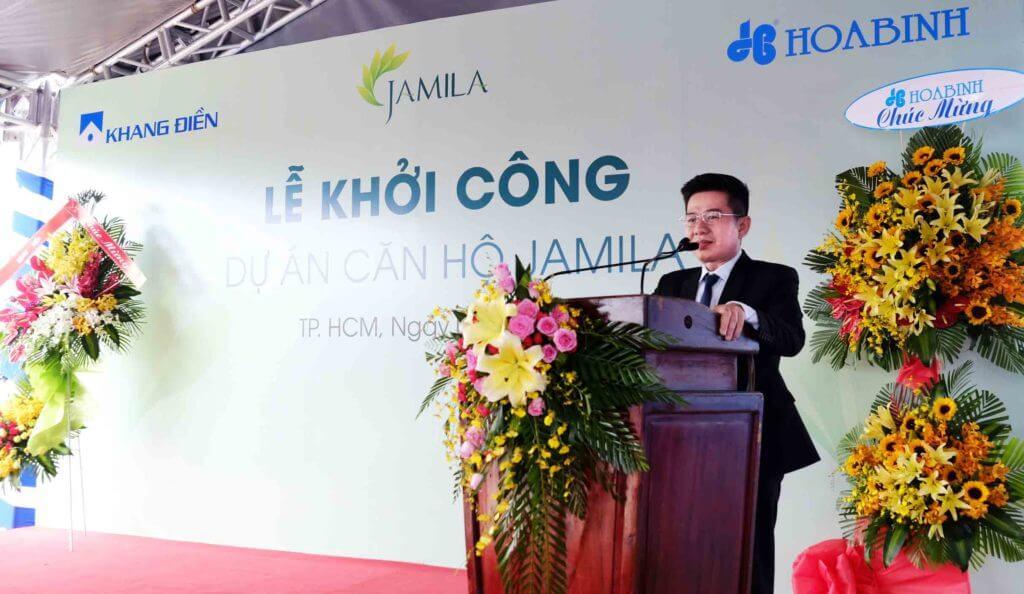 Phó Tổng Giám đốc trương Minh Duy phát biểu tại Lễ khởi công dự án căn hộ Jamila