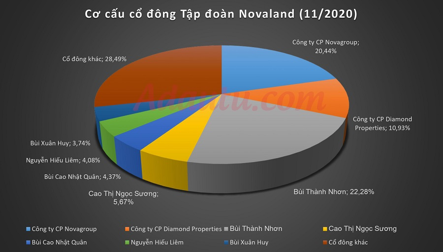 Cơ cấu cổ đông tập đoàn Novaland (tháng 01/2021), gia đình chủ tịch Bùi Thành Nhơn sỡ hữu 63,689% cổ phần
