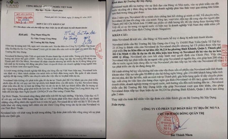 Đơn cầu cứu khẩn cấp của Novaland gởi Bộ trưởng Bộ xây dựng Phạm Hồng Hà