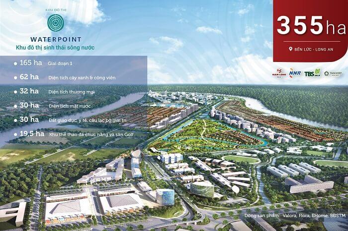 Dự án Waterpoint Long An có diện tích hơn 355ha