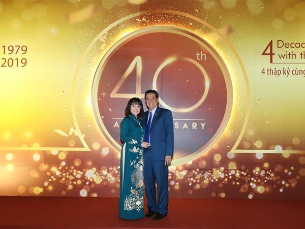 Vợ chồng Đặng Văn Thành - Huỳnh Bích Ngọc tại Lễ kỷ niệm 40 năm ngày thành lập TTC Group