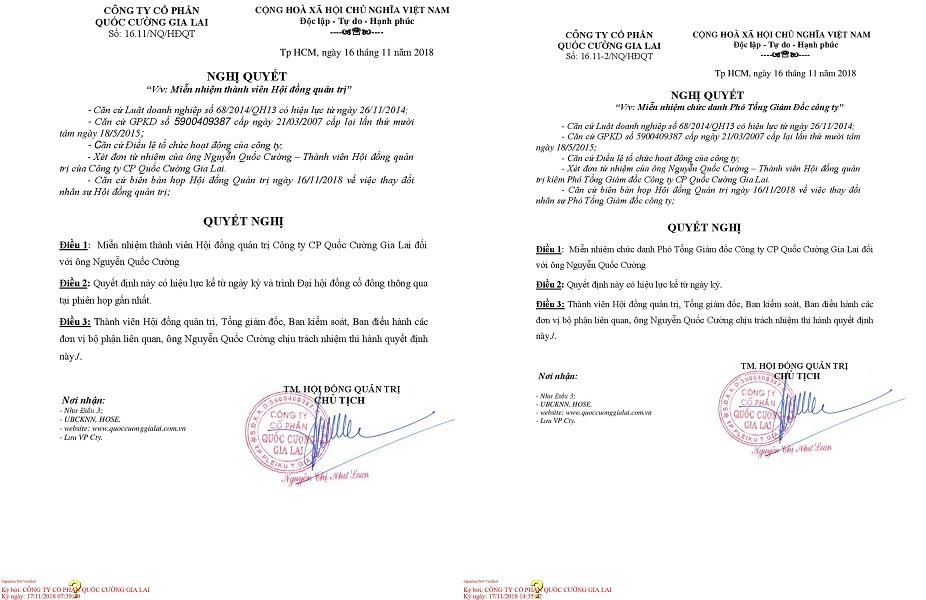 Nghị quyết miễn nhiệm Thành viên HĐQT - Phó Tổng Giám đốc đối với ông Nguyễn Quốc Cường của Quốc Cường Gia Lai (QCG)