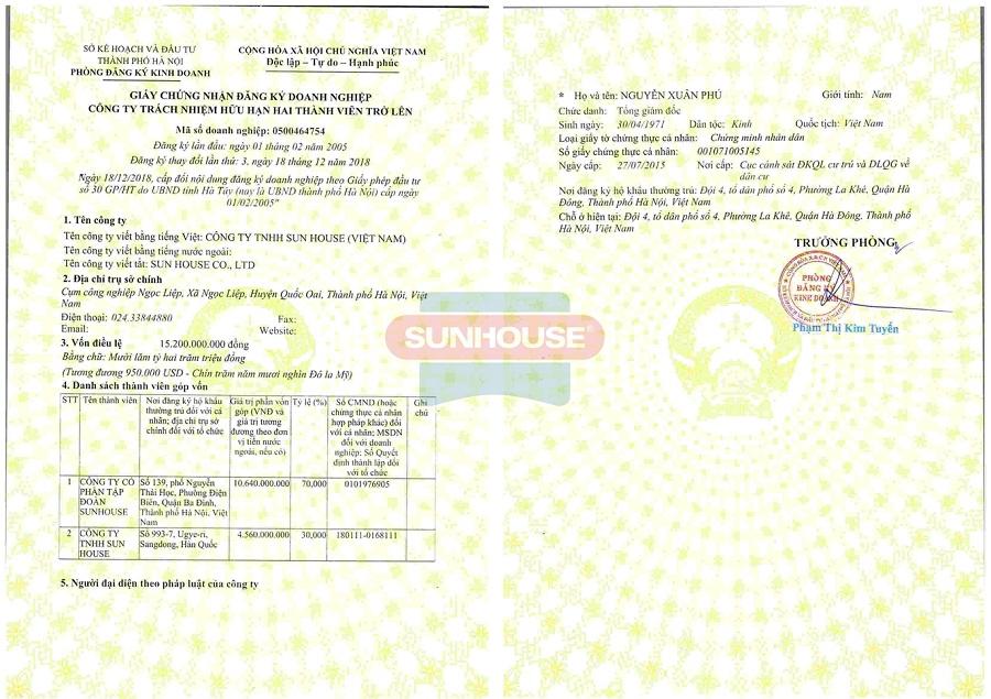 Giấy chứng nhận đăng ký doanh nghiệp Công ty TNHH Sunhouse (Việt Nam)